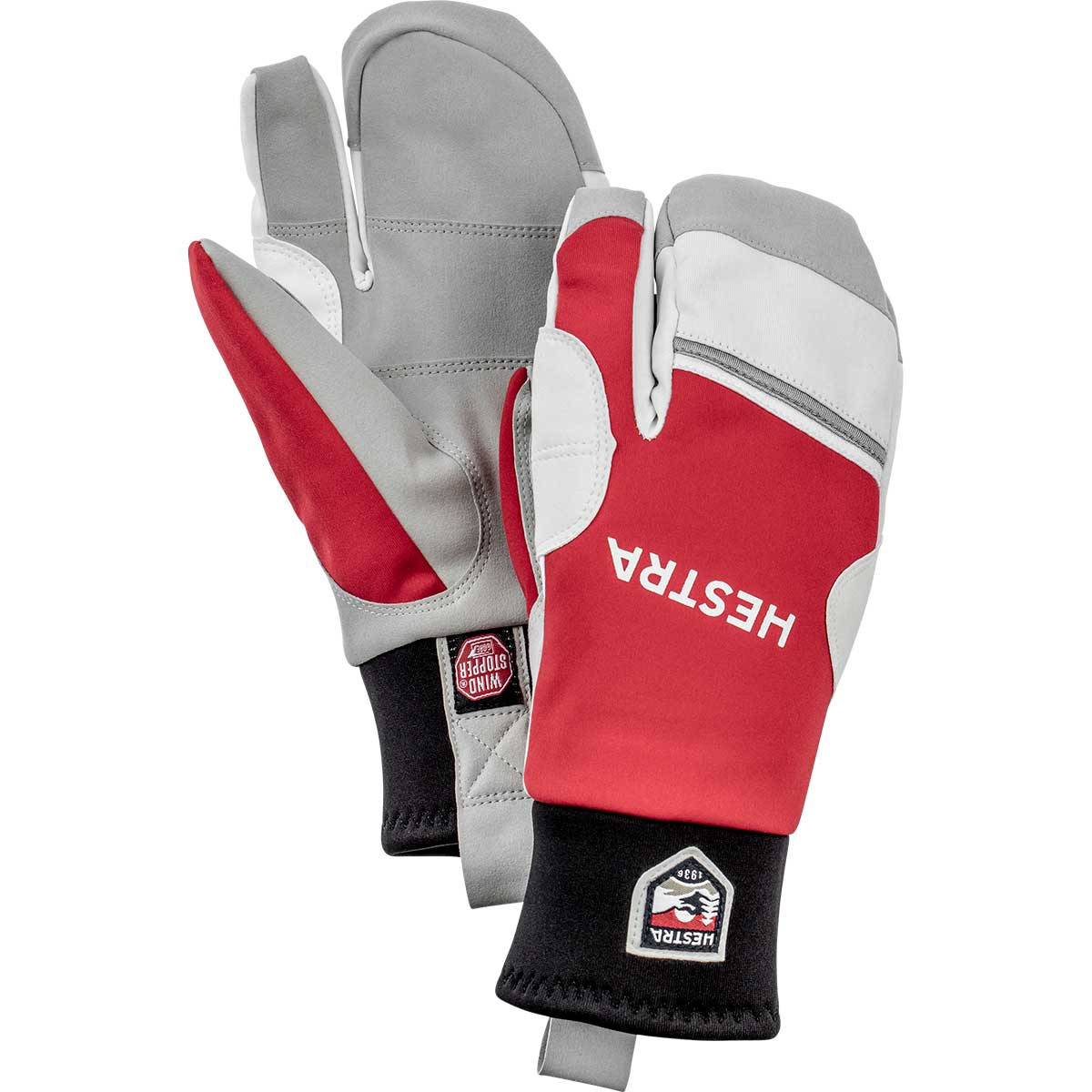 Hestra Windstopper Race Tracker 3-finger gloves in red