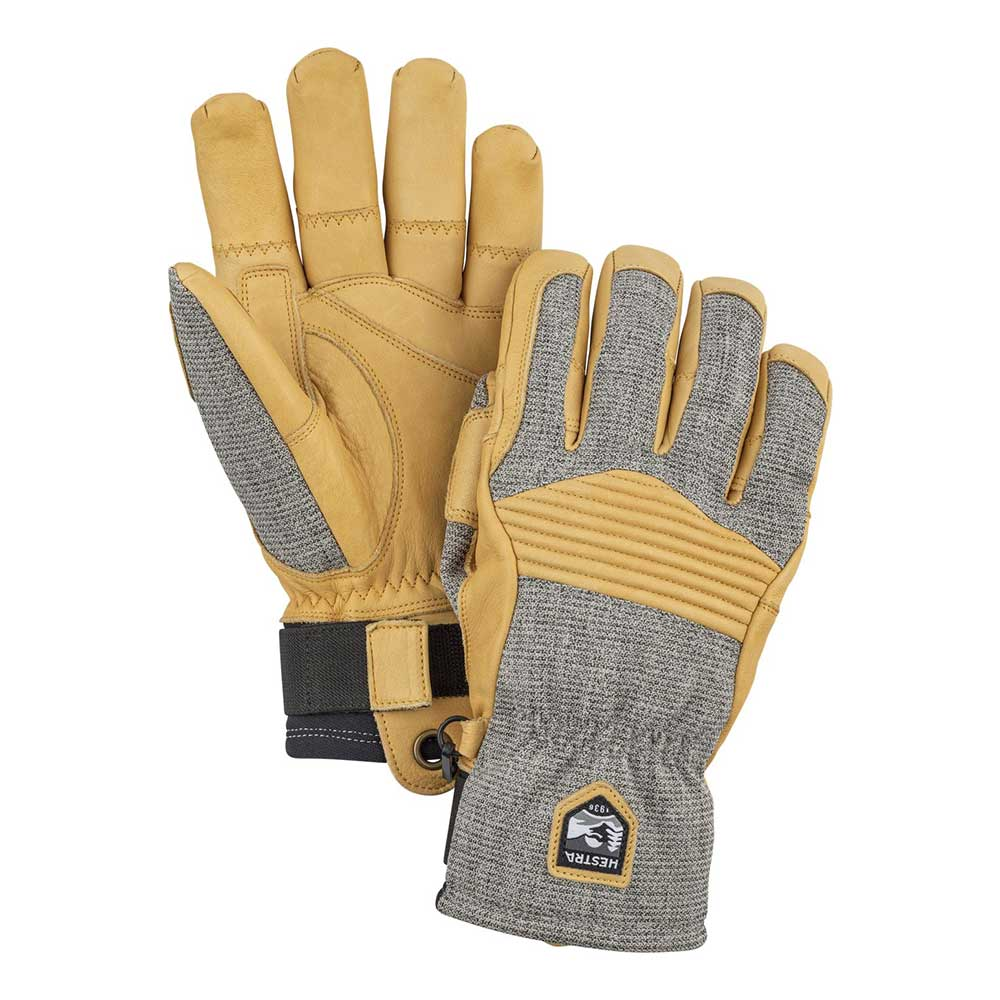 Hestra Army Leather Couloir Glove in light grey and tan