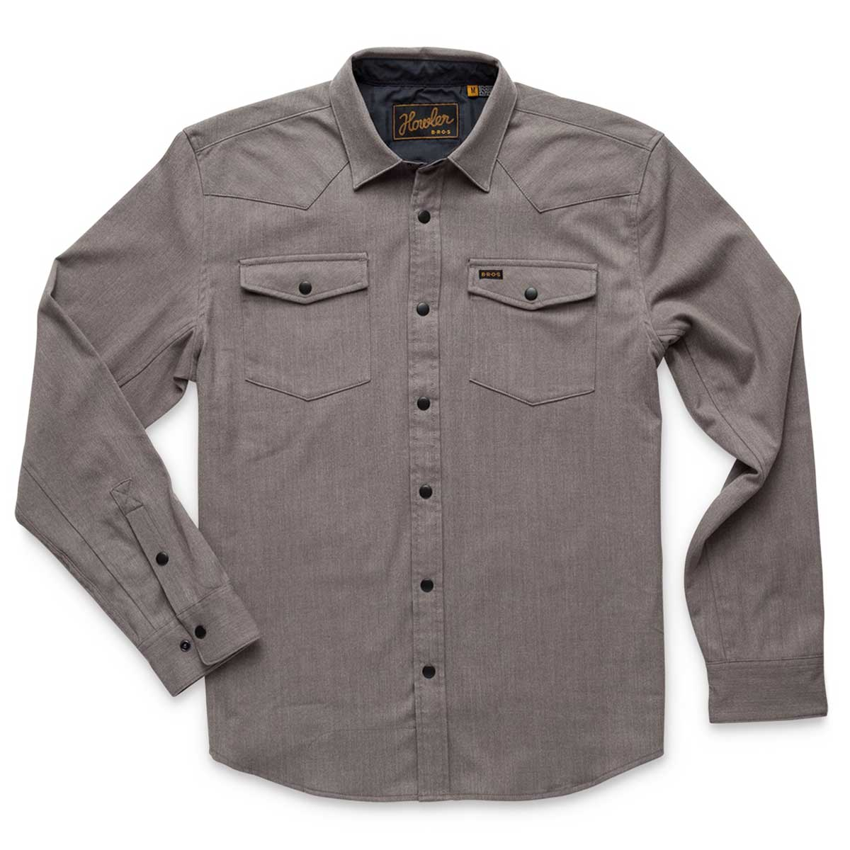 Front of Howler Bros Stockman Stretch Snapshirt in mountain grey
