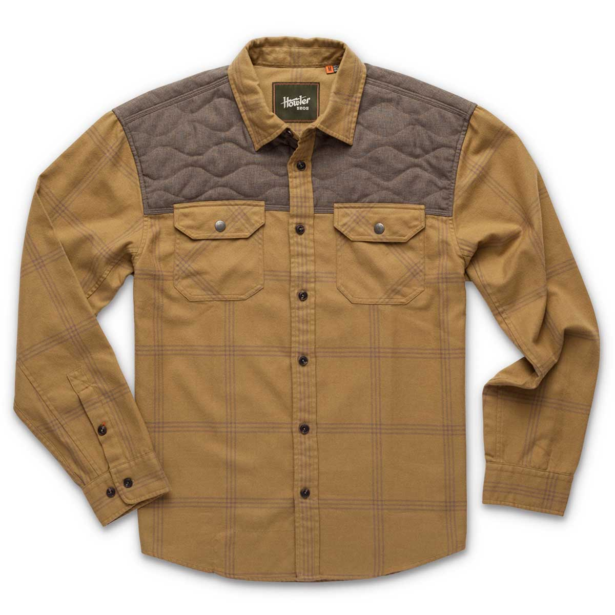 Front of Howler Bros Quintana Quilted Flannel in officer khaki