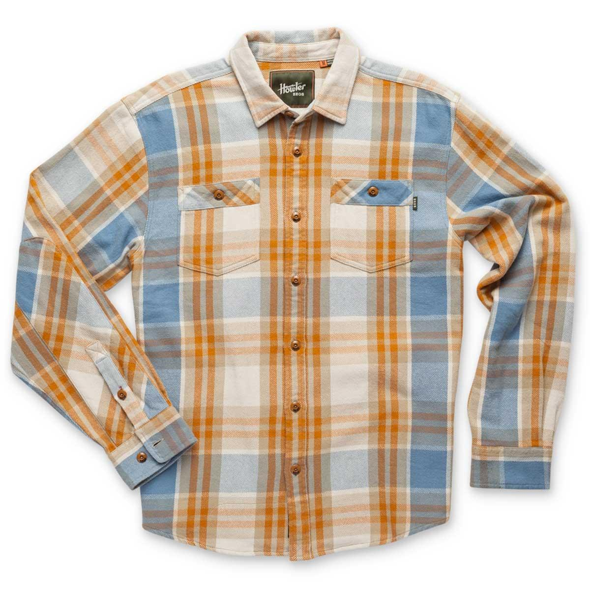Front of Howler Bros Rodanthe Flannel in clay and sky