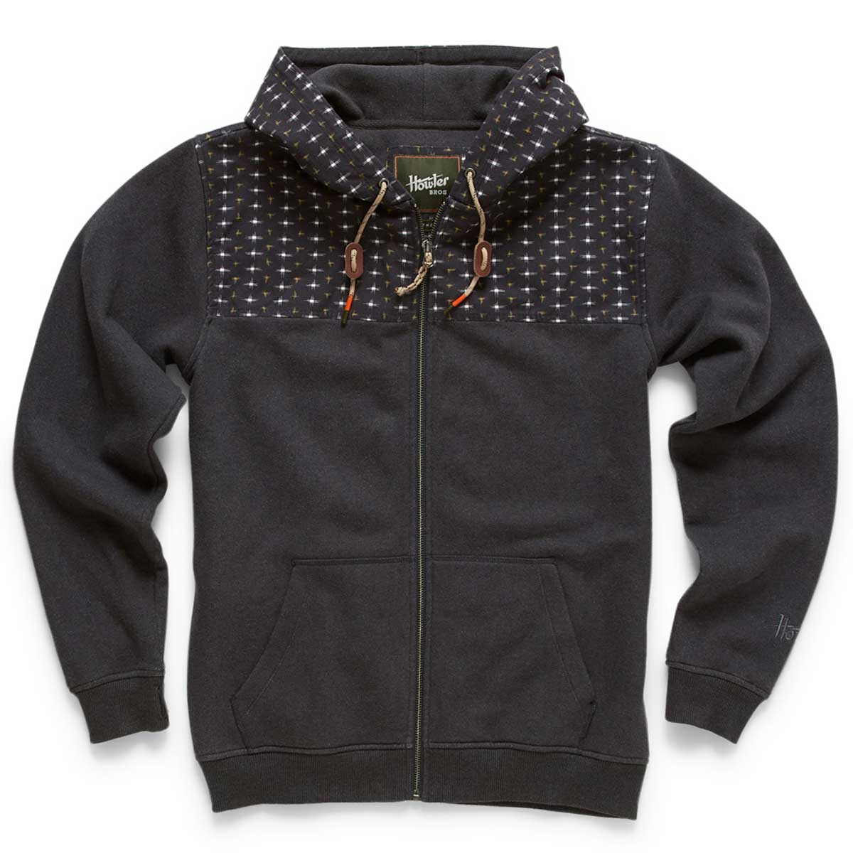 Front of Howler Bros Shaman Hoodie in carbon and dark star
