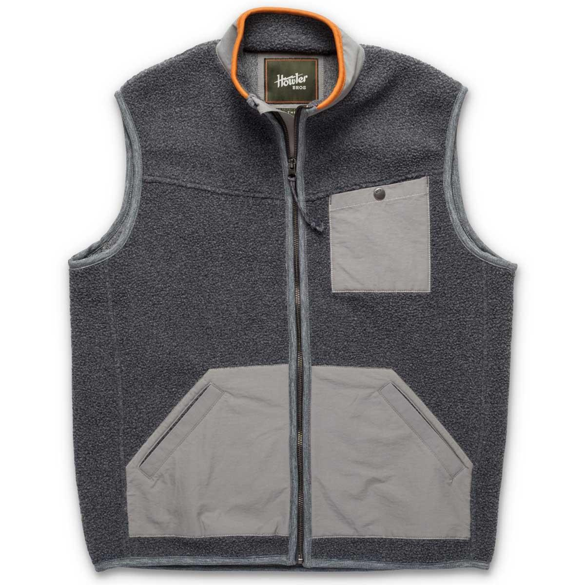 Front of Howler Bros Chisos Fleece Vest in mountain grey