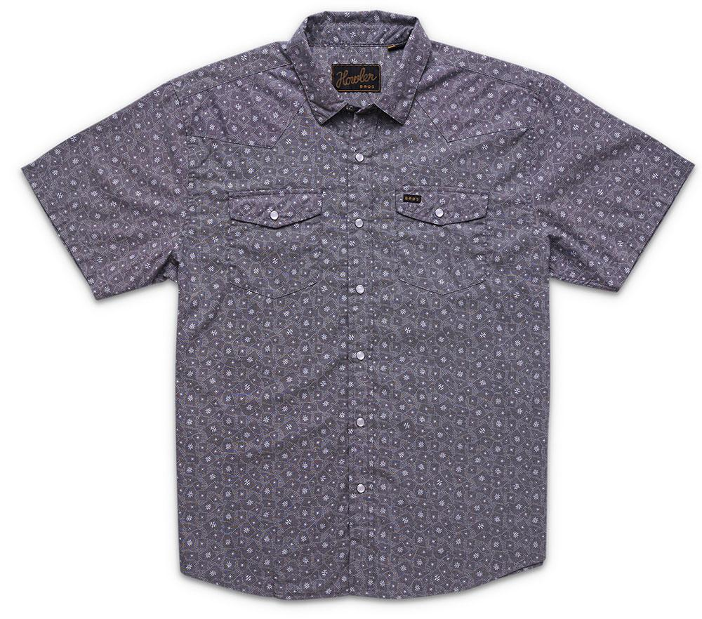 Howler Bros H Bar B Snapshirt in Little Agave Print Night Blue Oxford