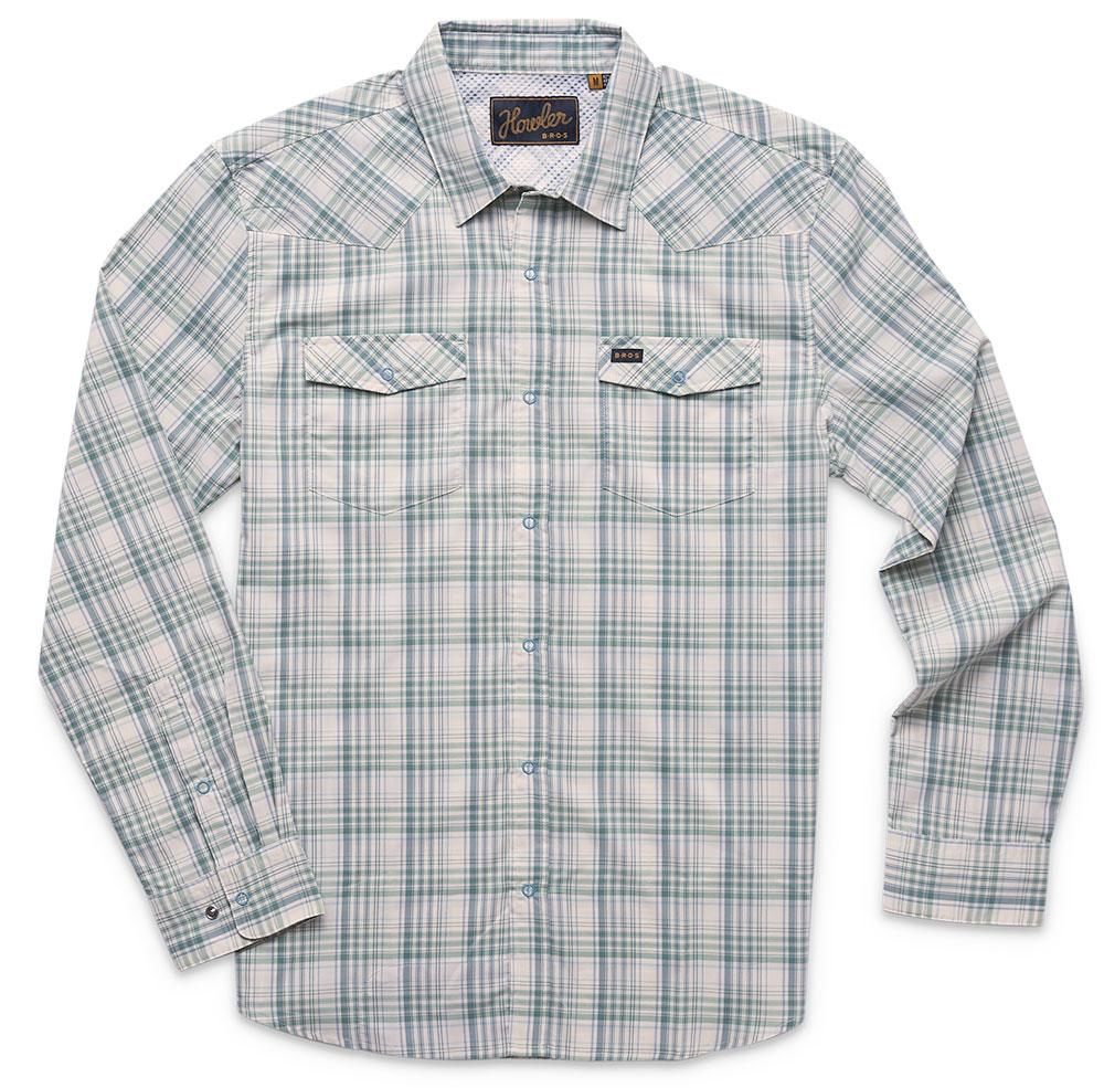 Howler Bros H Bar B Tech Longsleeve Shirt in Bolan Plaid Juniper Green