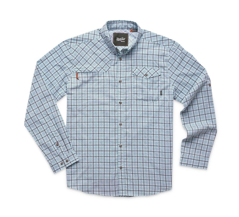 Howler Bros Matagorda Shirt in Thompson Plaid Tropic Blue