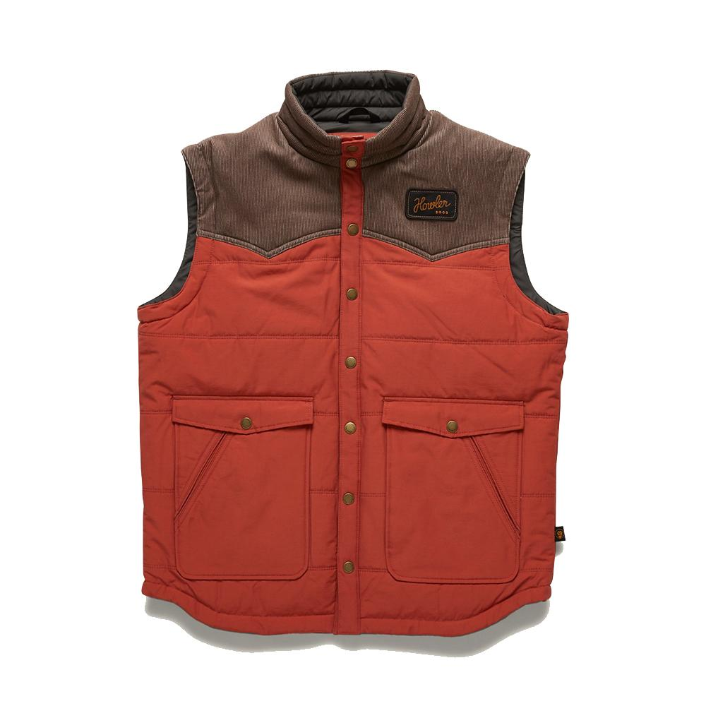 Howler Brothers Rounder Men's Vest in Roasted Red and Morel