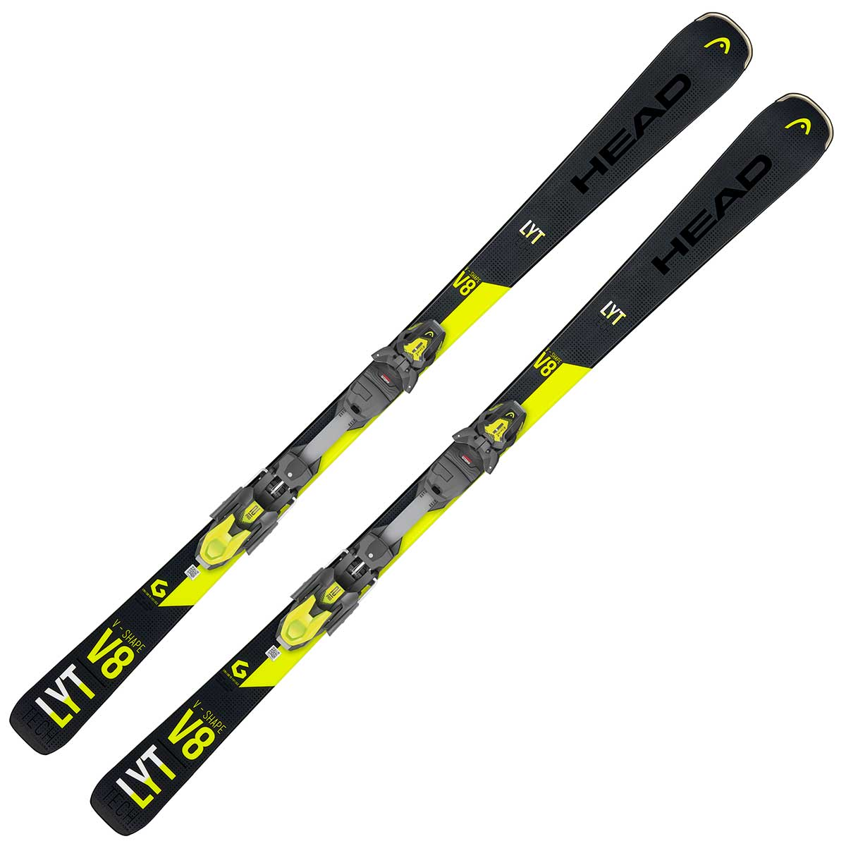 Head V-Shape V8 system ski in black and yellow
