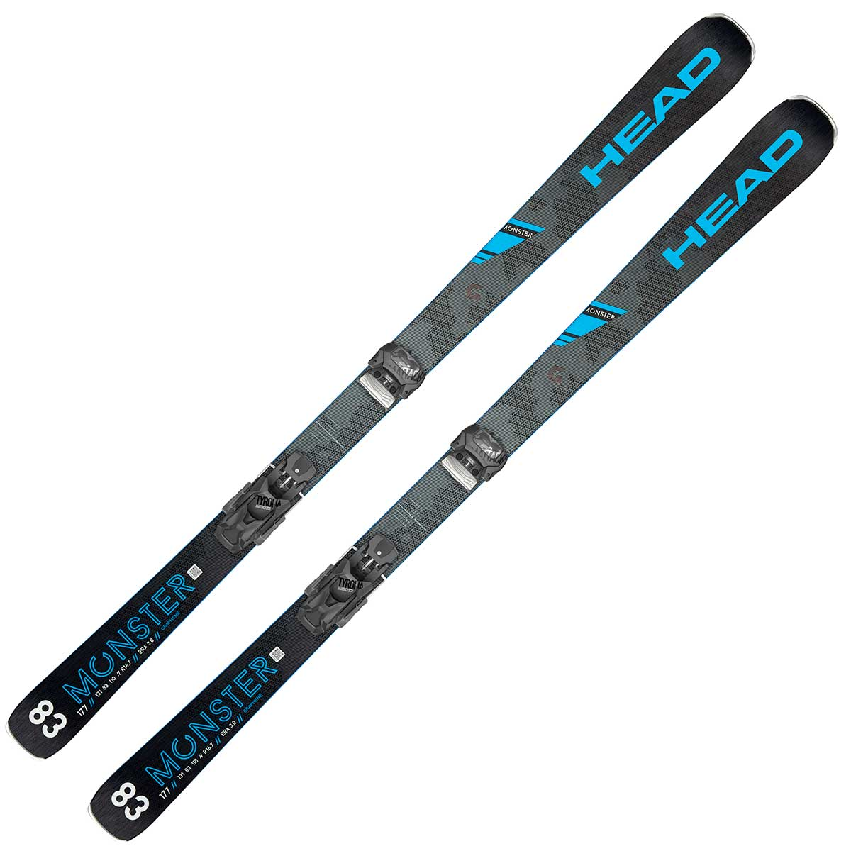 Head Monster 83 Ti ski in black and blue