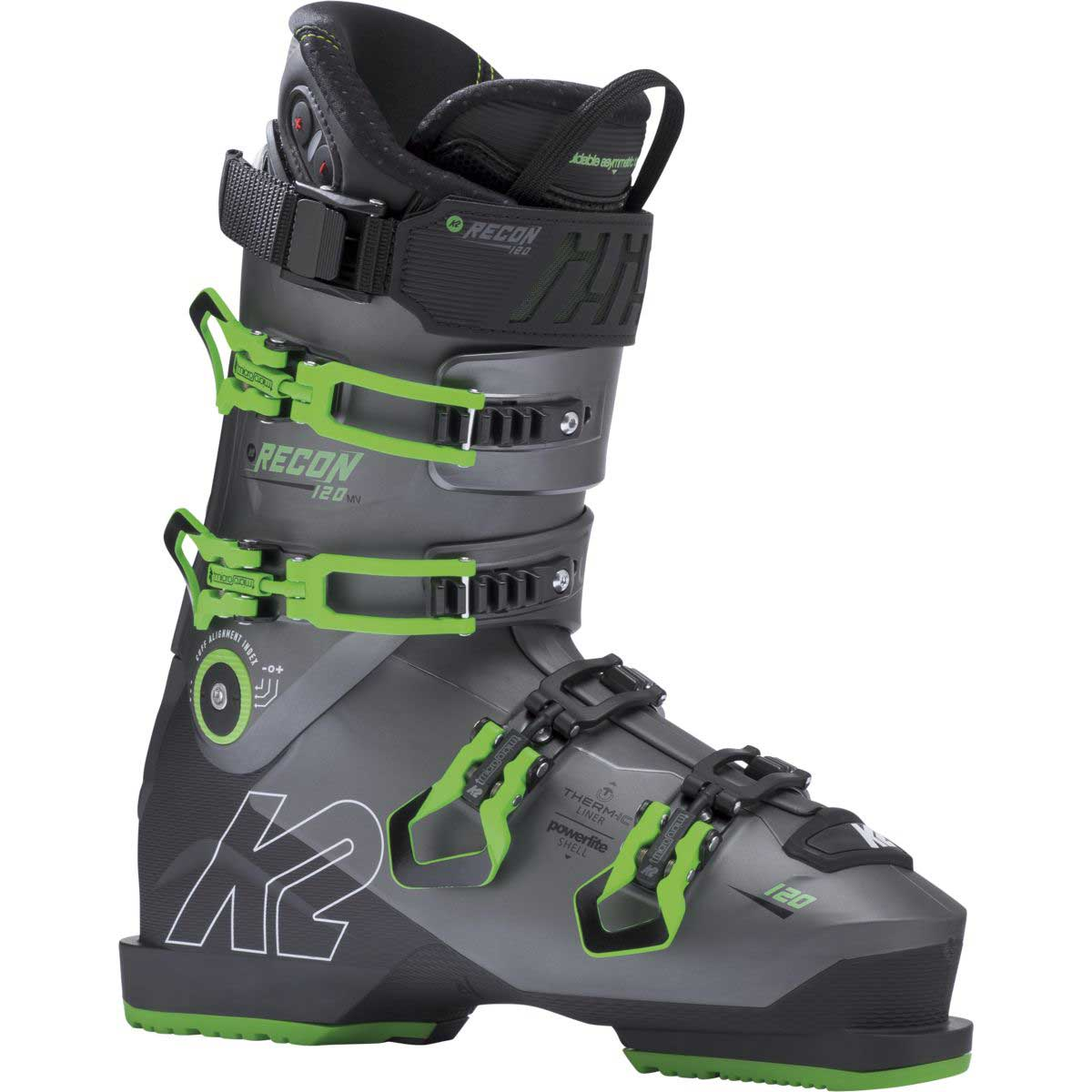 K2 Recon 120 LV ski boot in dark grey and green