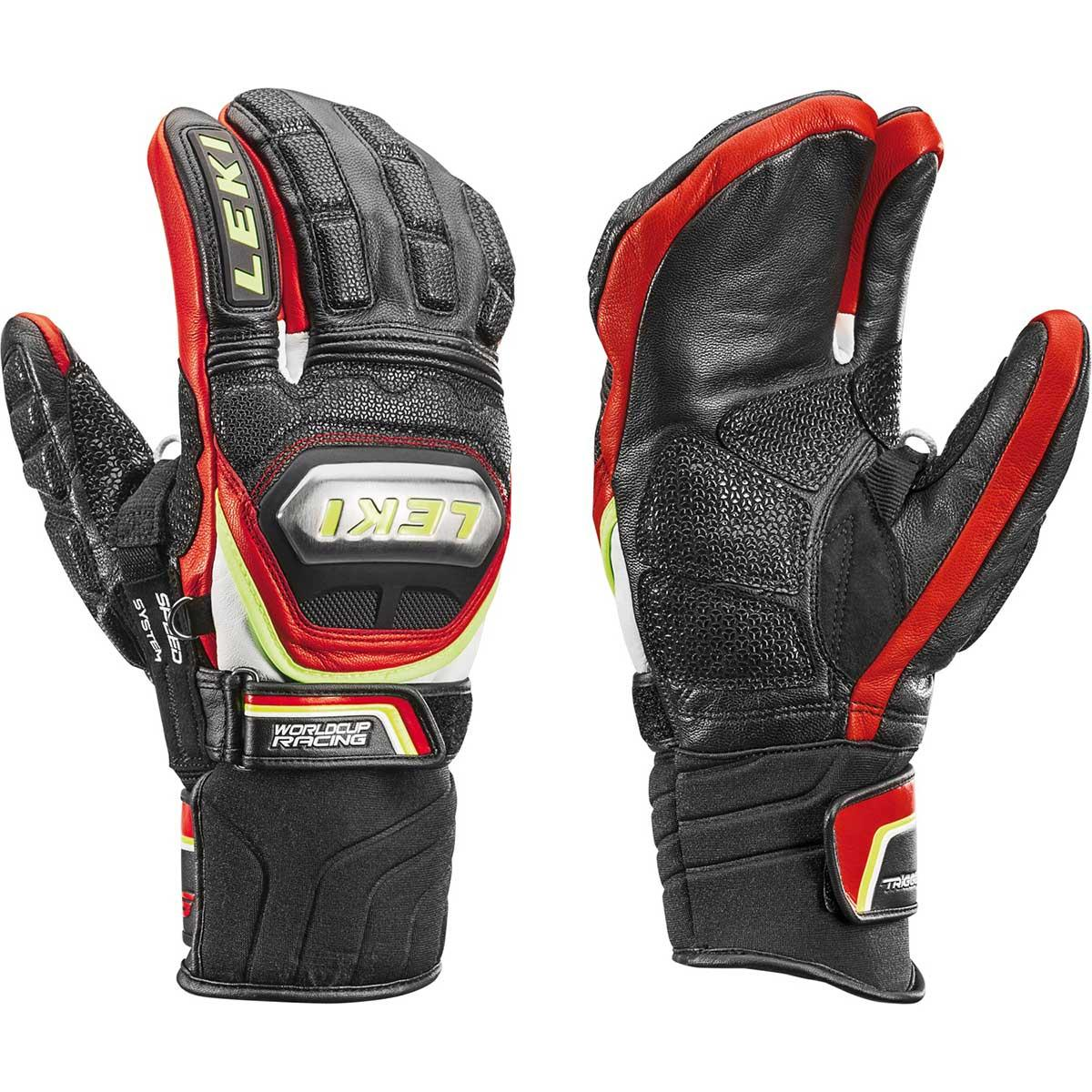 Leki Worldcup Racing Ti S Lobster Glove in black and red and yellow