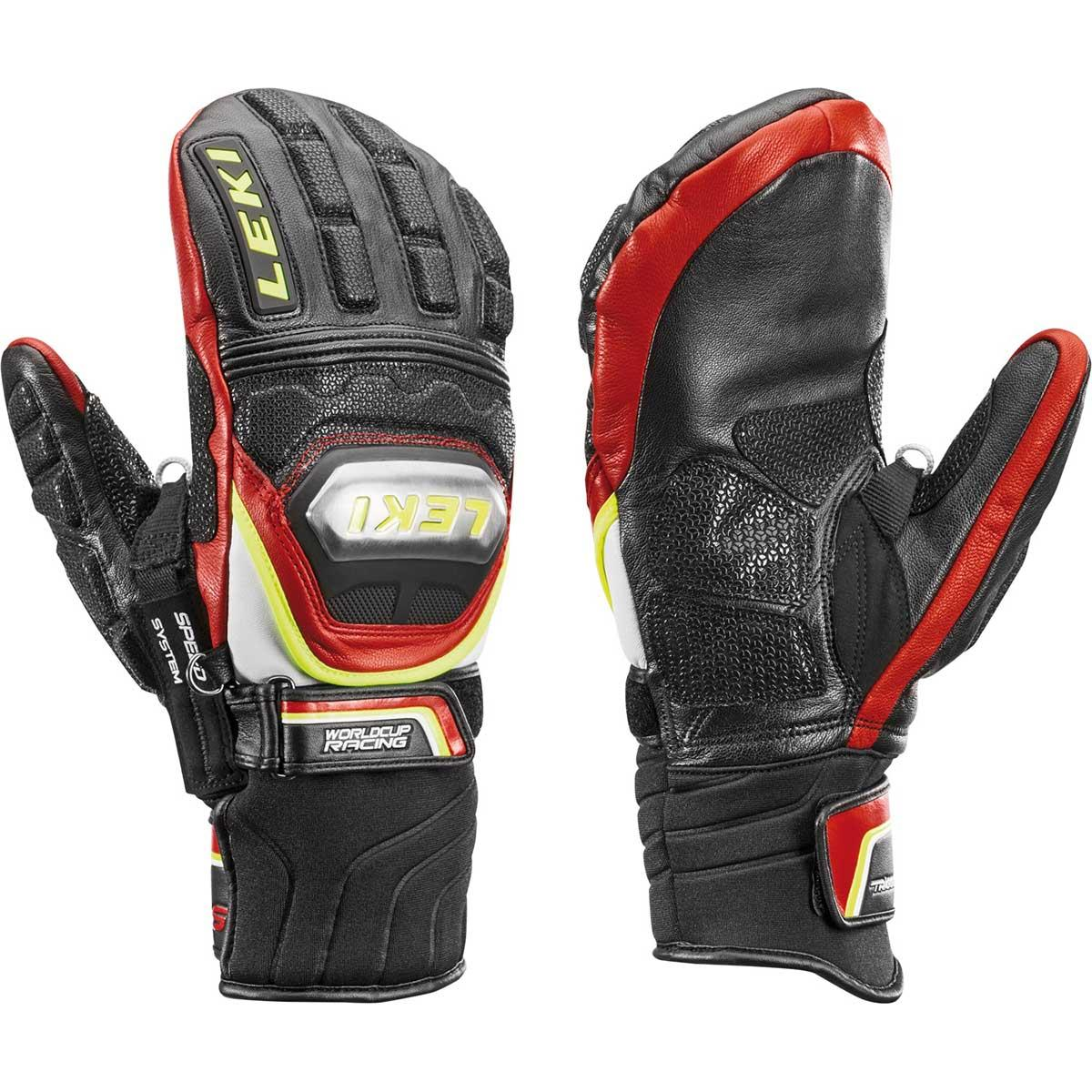 Leki Worldcup Racing Ti S Mitt in black and red and yellow