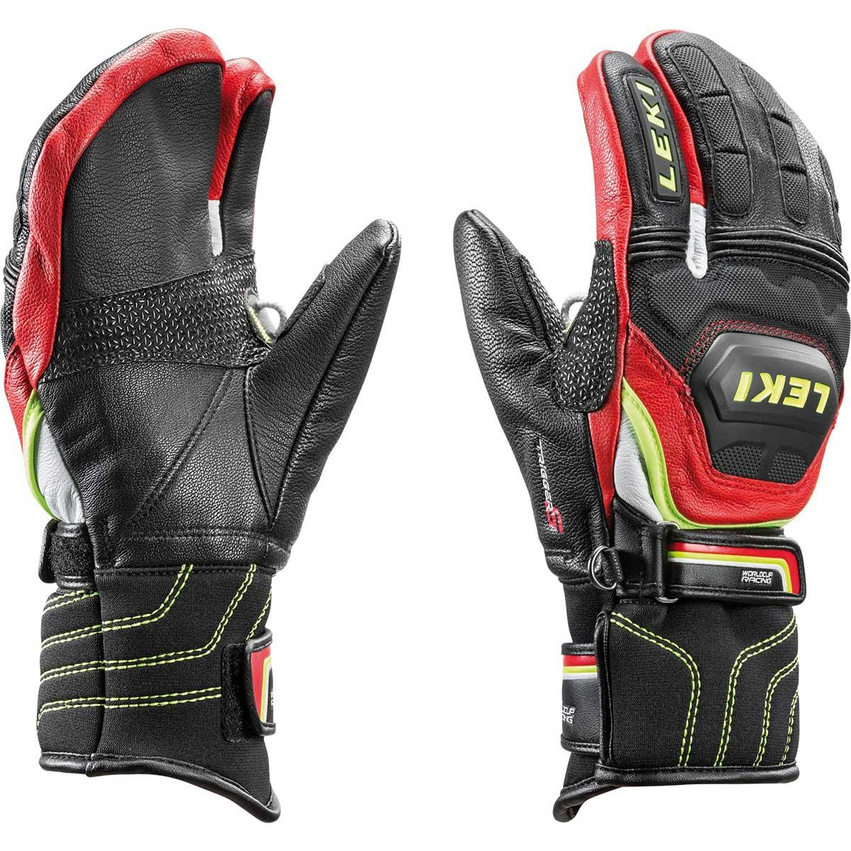 Leki Worldcup Race Flex S JR Lobster glove in black and red and yellow