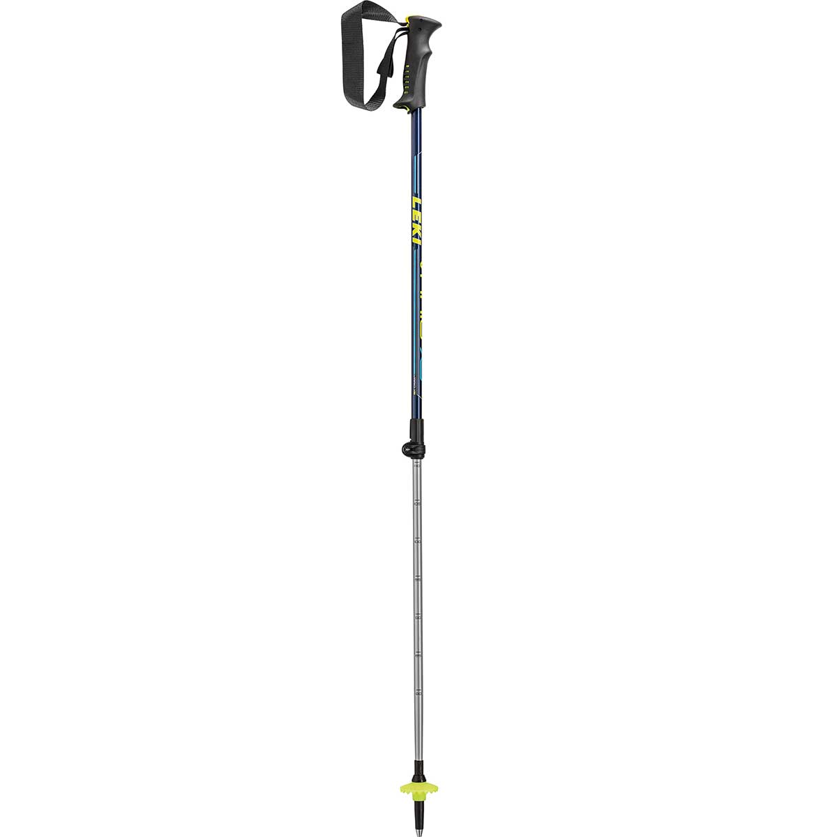 Leki Vario XS kids' ski pole in blue and lime green