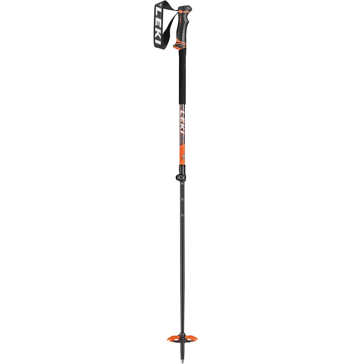 Leki Helicon ski pole in black and orange