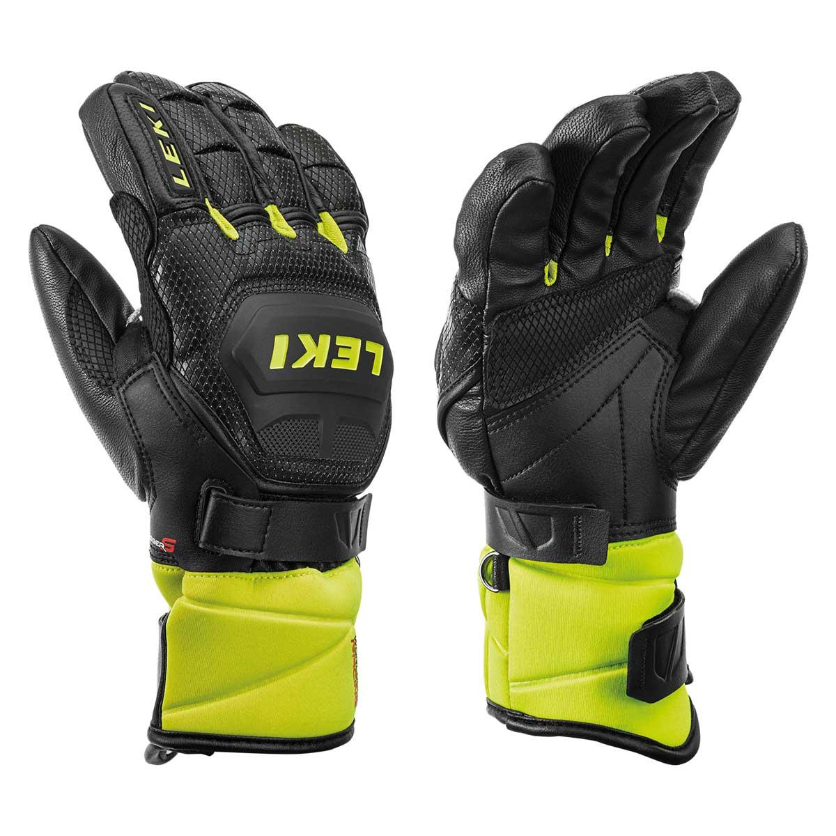 Leki Kids' Worldcup Race Flex S Glove in Black and Lemon