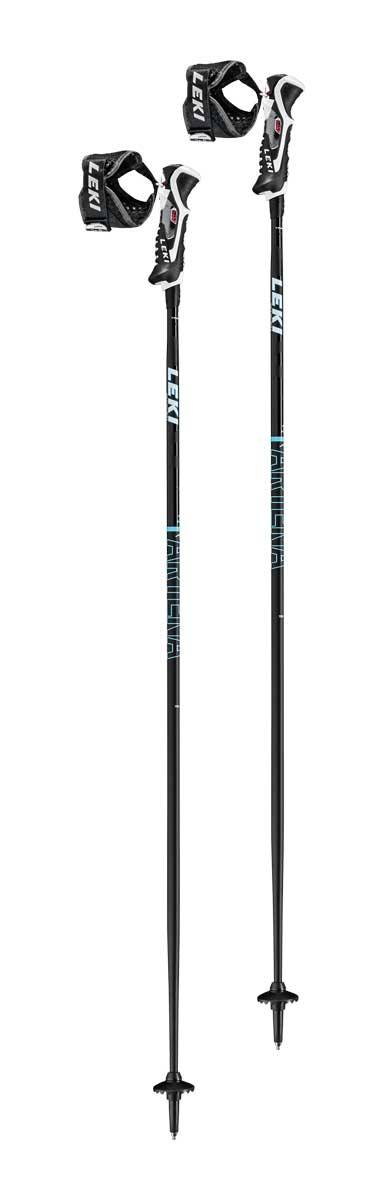 Leki Women's Artena Airfoil 3D Ski Poles in Black and Mint