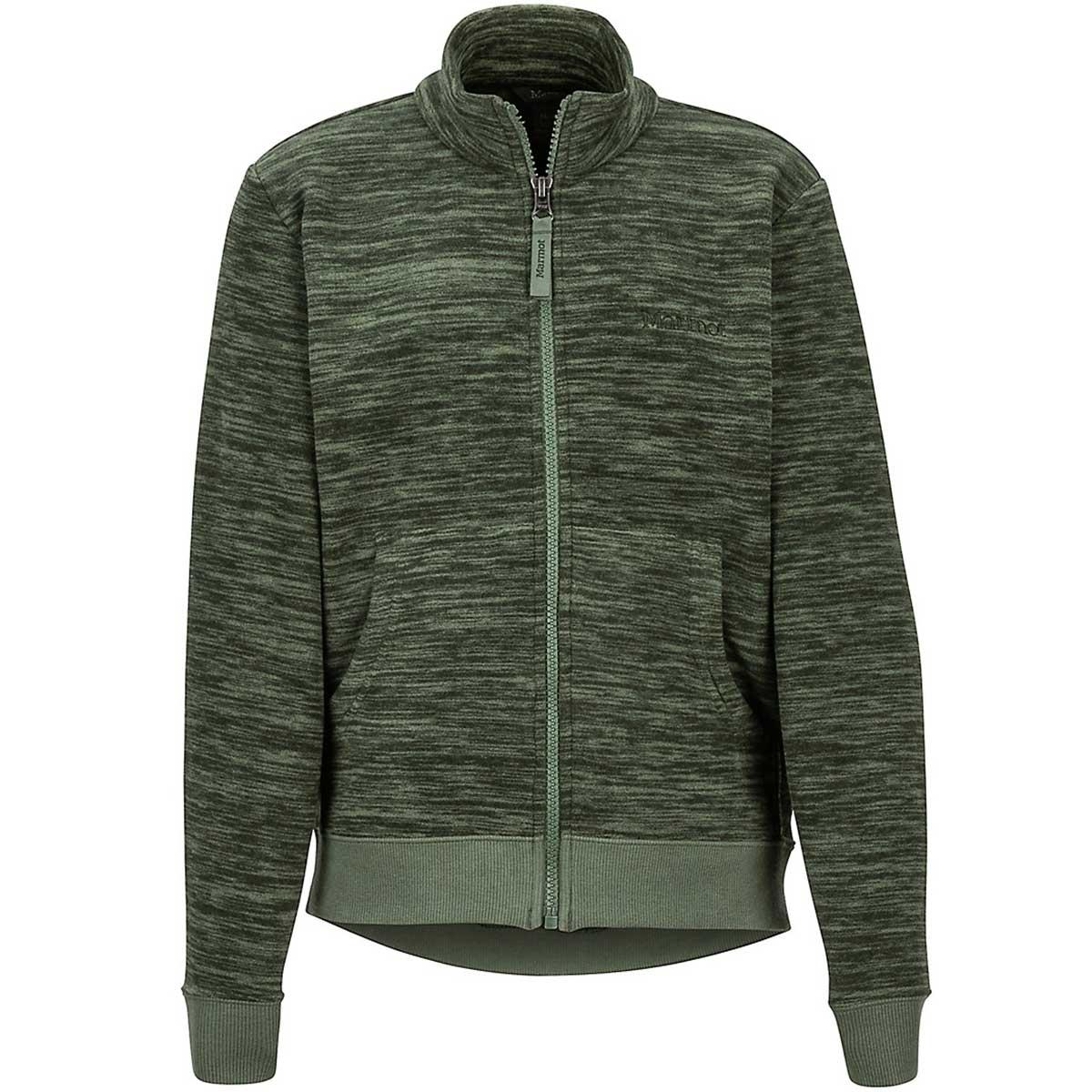 Marmot boys' Couloir Fleece Jacket in Crocodile Heather front view