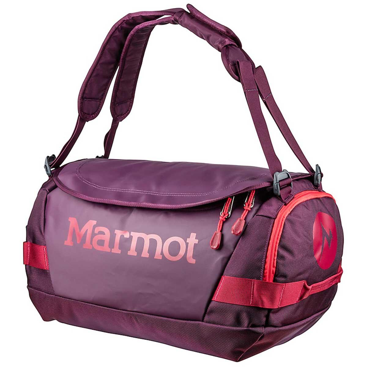 Marmot Long Hauler Duffle Bag Small in Dark Purple and Brick main view