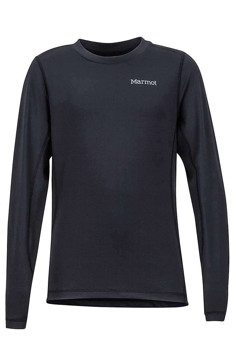Marmot Boys' Midweight Harrier Crew Top in Black