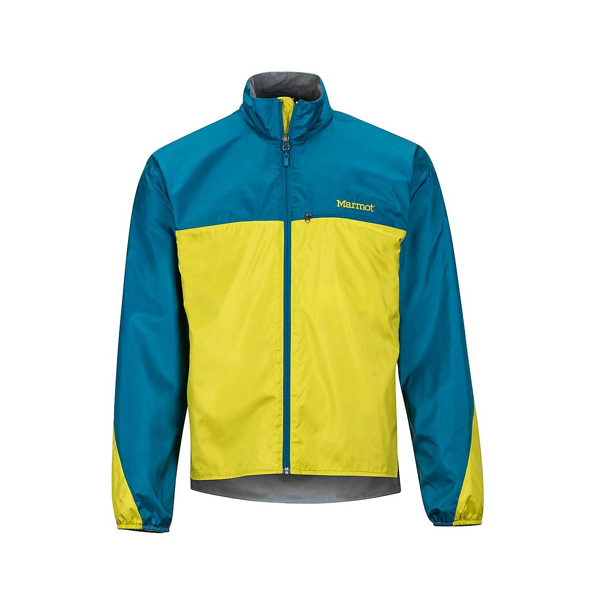 Marmot Men's DriClime Windshirt in Citronelle and Moroccan Blue
