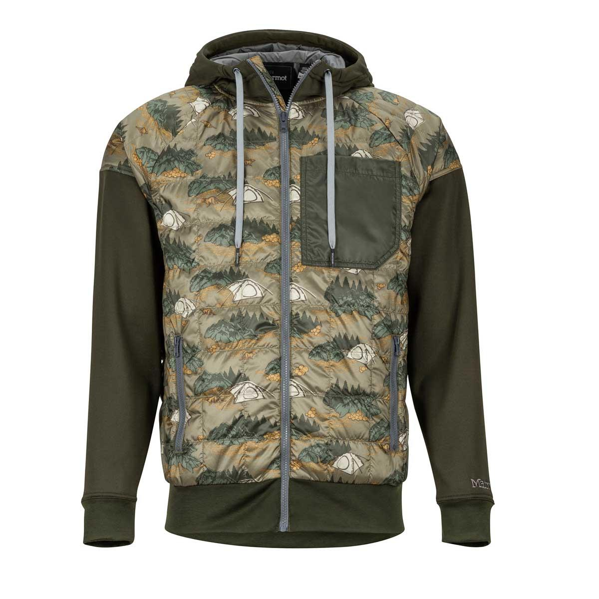 Marmot Men's Martis Peak Hoody in Camo and Rosin Green