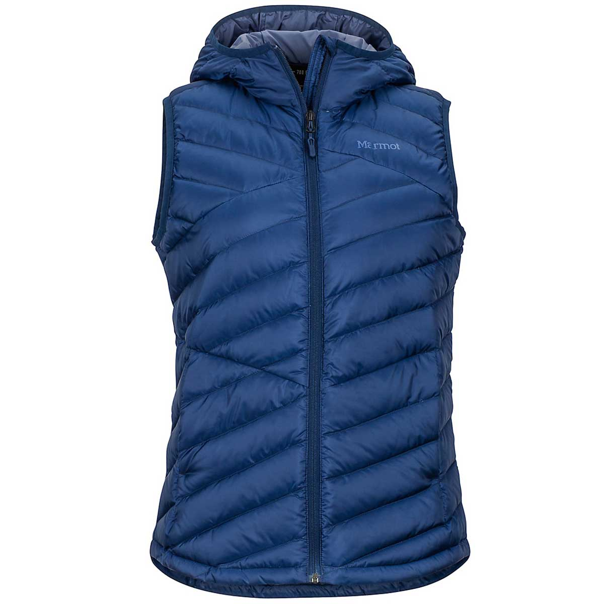 Marmot women's Highlander Hoody Vest in Arctic Navy front view