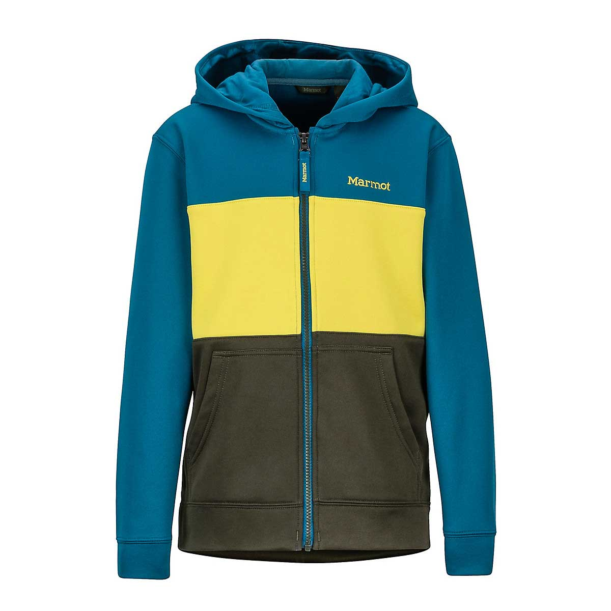 Marmot Boys' Rincon Hoody in Rosin Green and Moroccan Blue