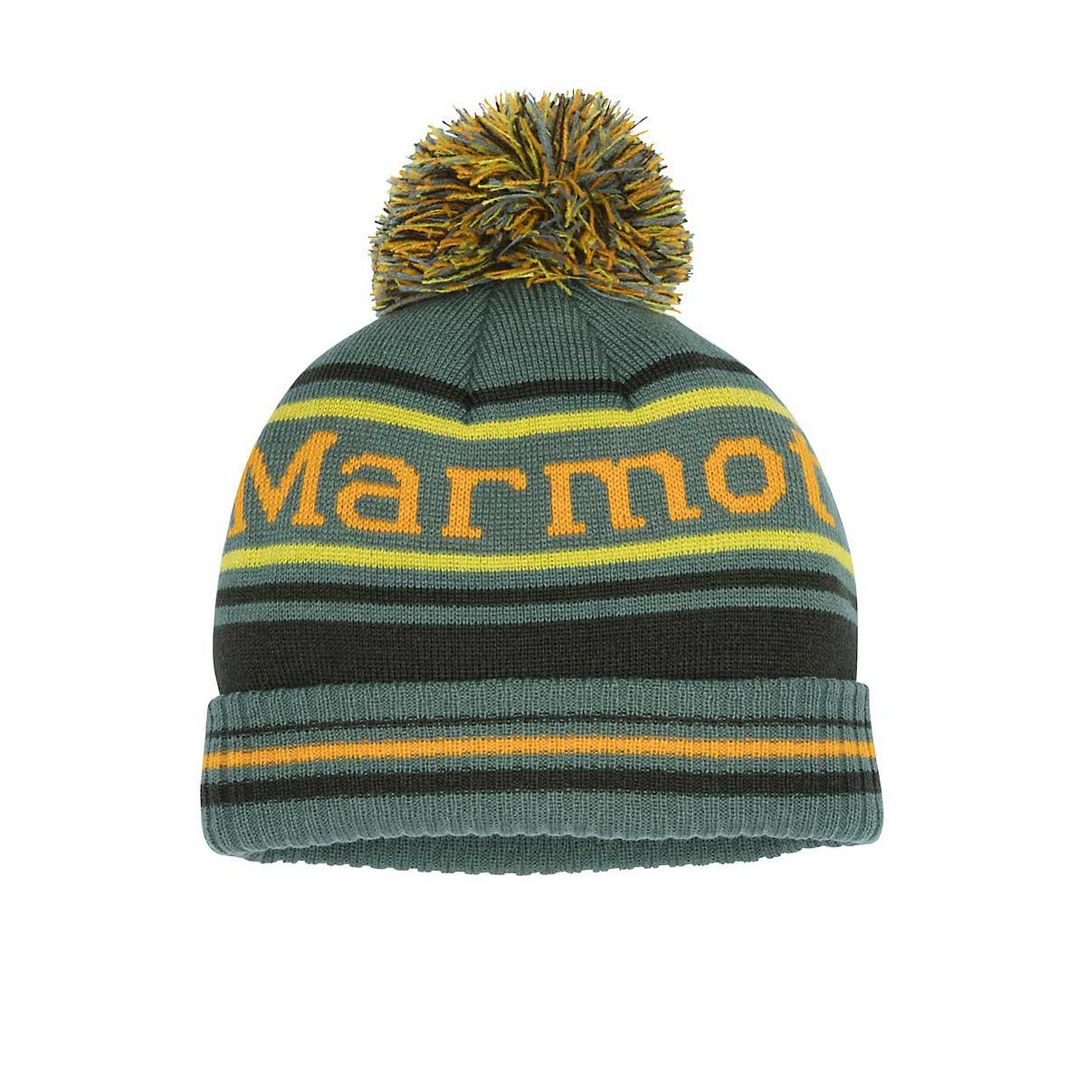 Marmot Boys' Retro Pom Hat in Crocodile and Rosin Green