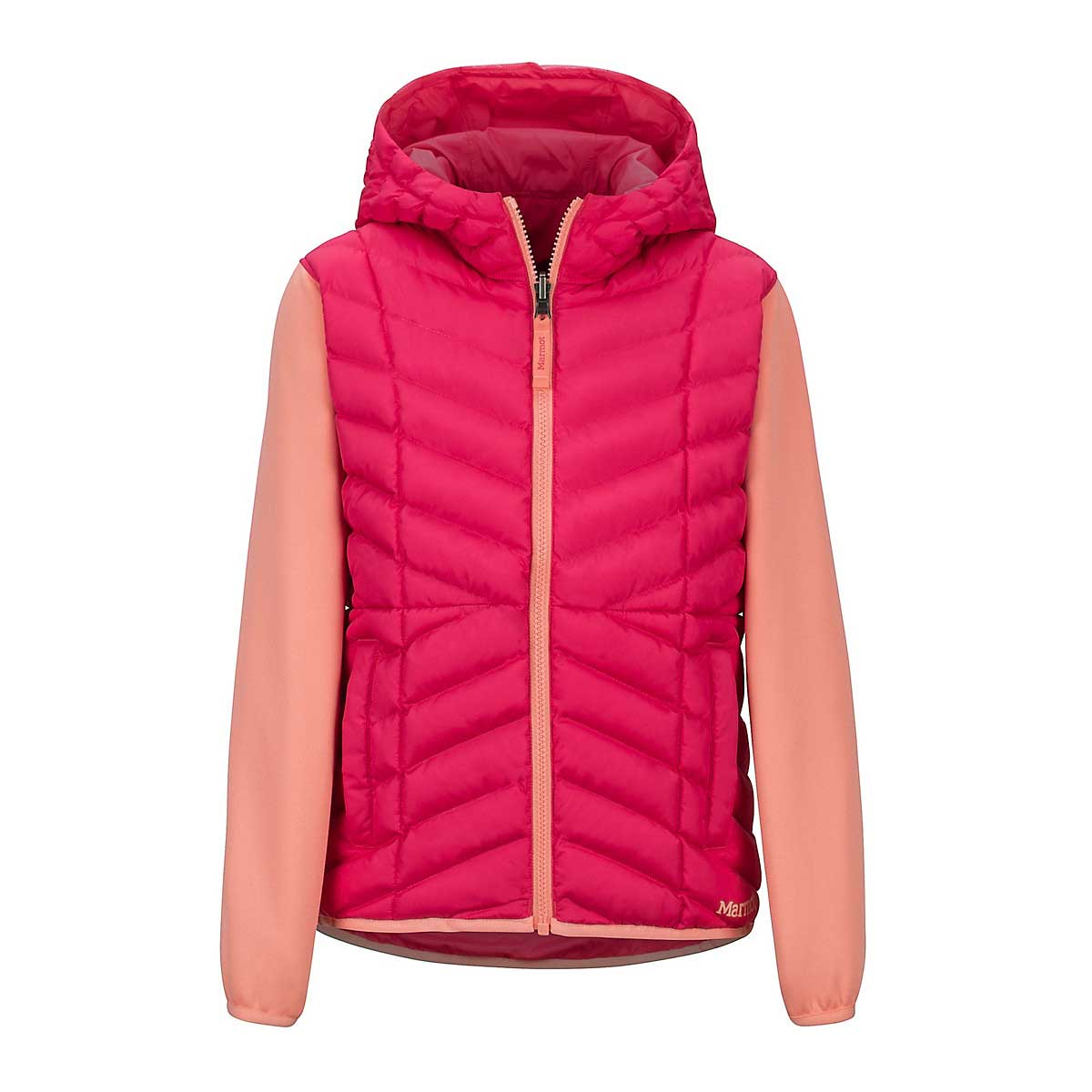 Marmot Girls' Featherless Reversible Hoody in Disco Pink Spritzer