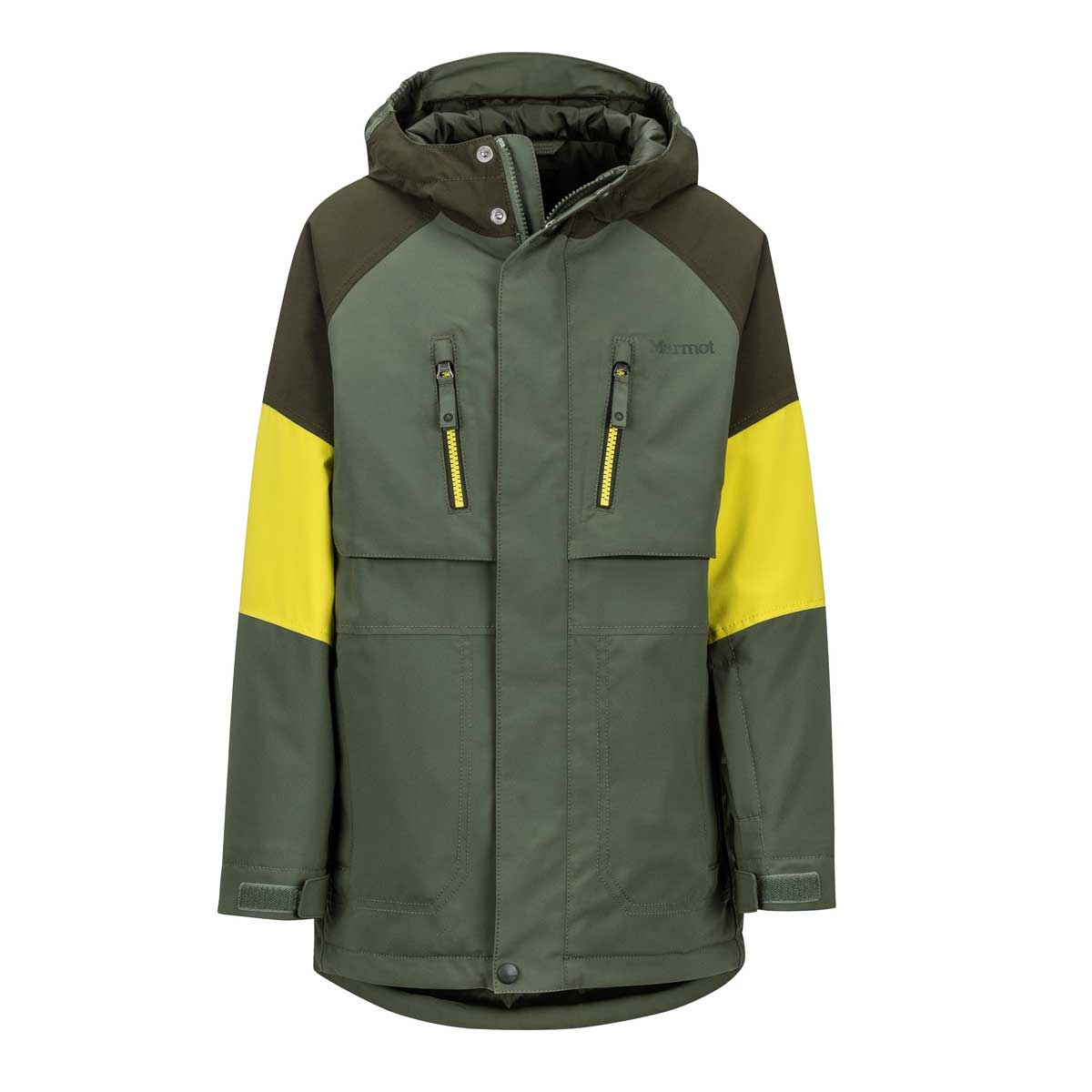 Marmot Boys's Gold Star Jacket in Crocodile and Rosin Green