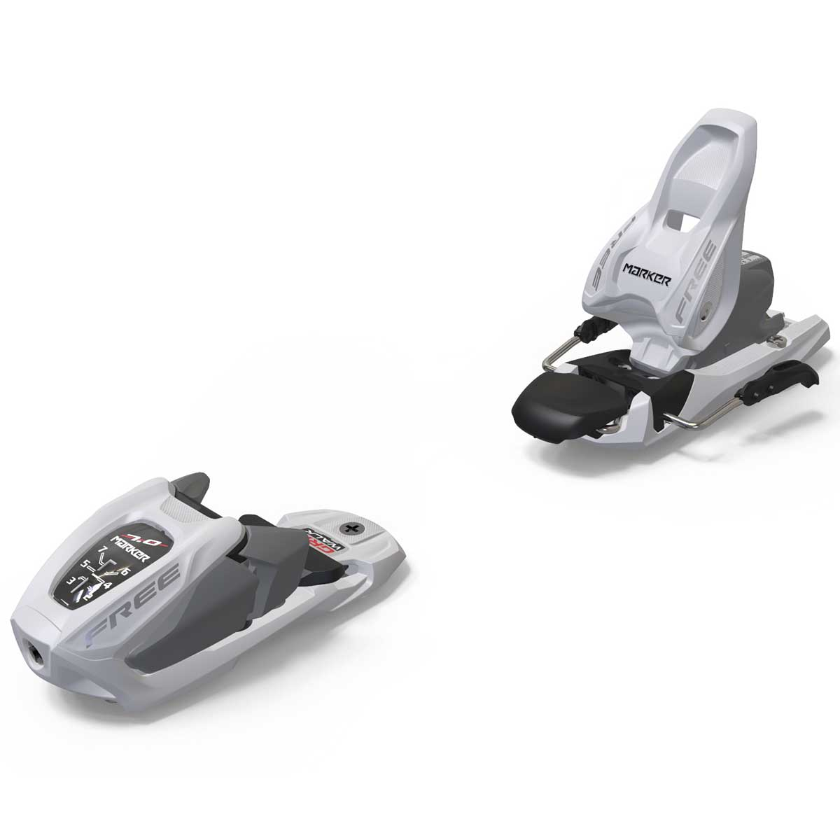 Marker Free 7 junior ski binding in white and silver