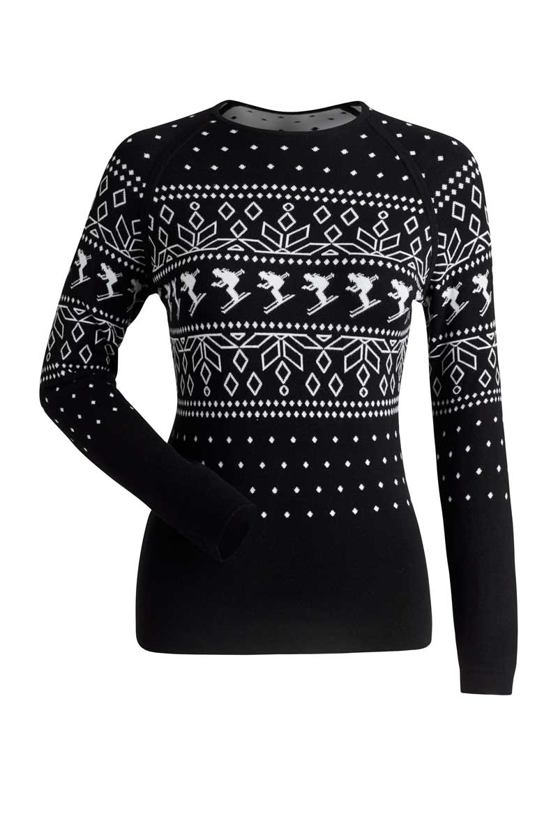 NILS Women's Anja Crew Neck Top in Black and White