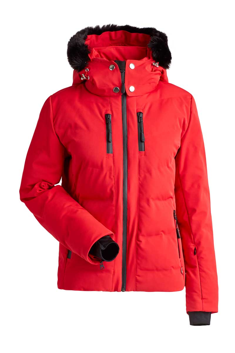 NILS Women's Genevieve Jacket with Faux Fur in Red and Red