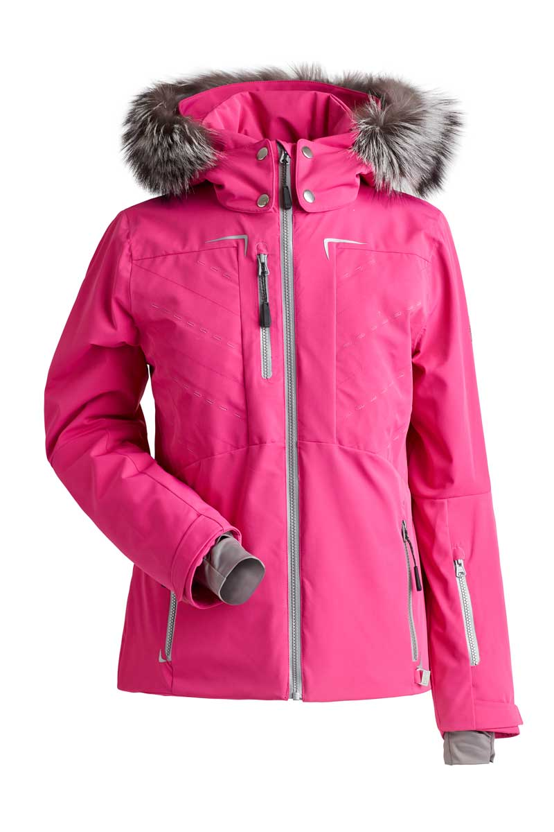 NILS Women's Gillian Jacket with Real Fur in Hot Pink