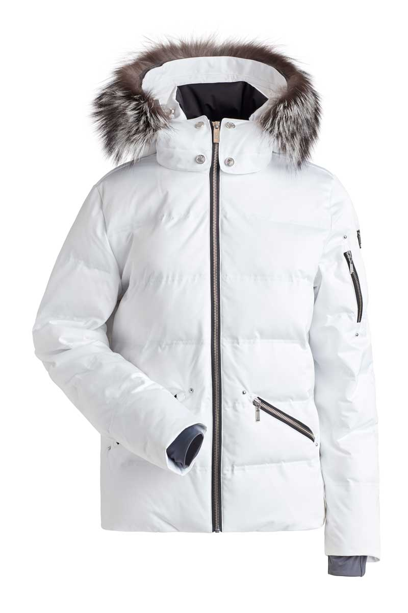 NILS Women's Madeline Jacket with Real Fur in White