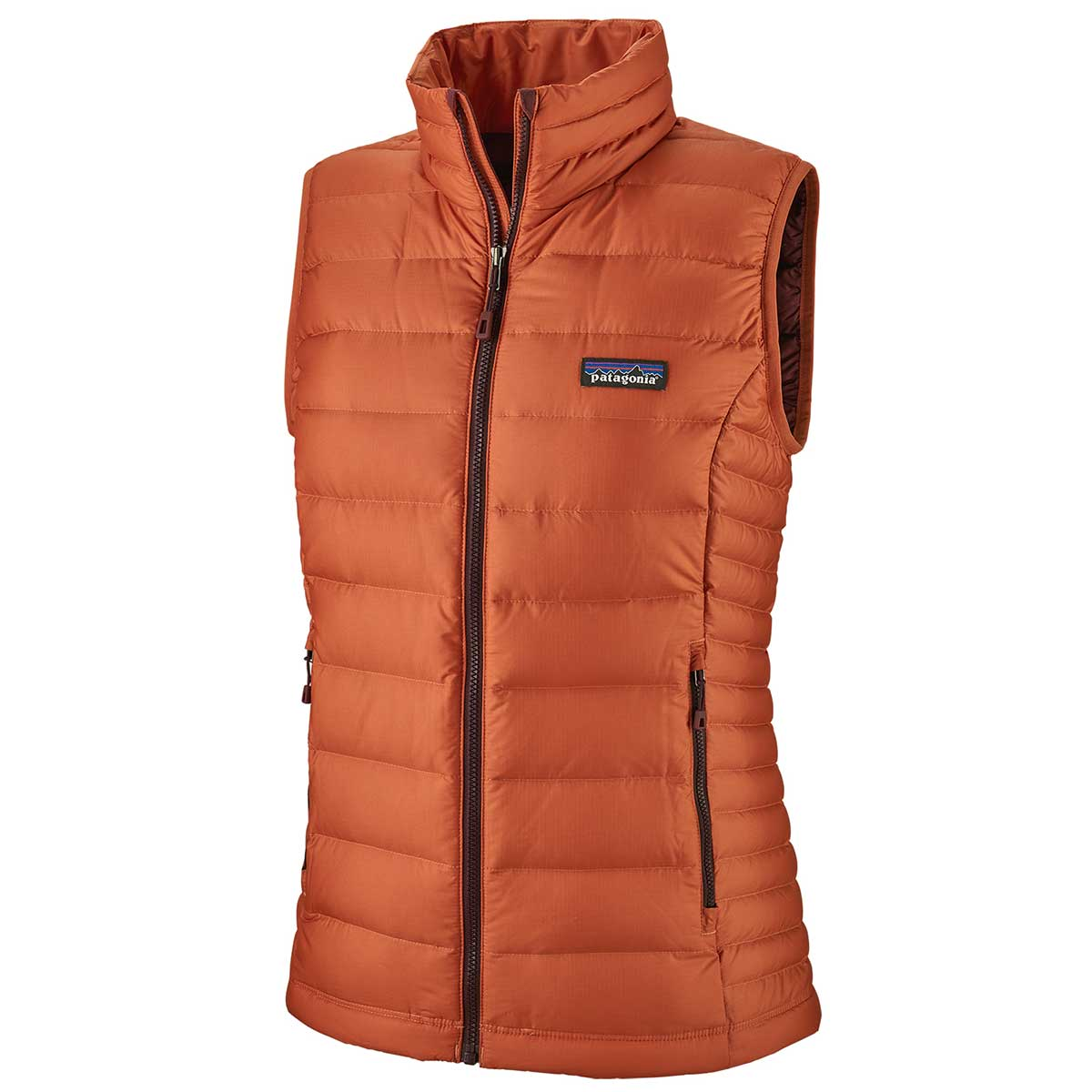 Patagonia women's Down Sweater Vest in Sunset Orange front view