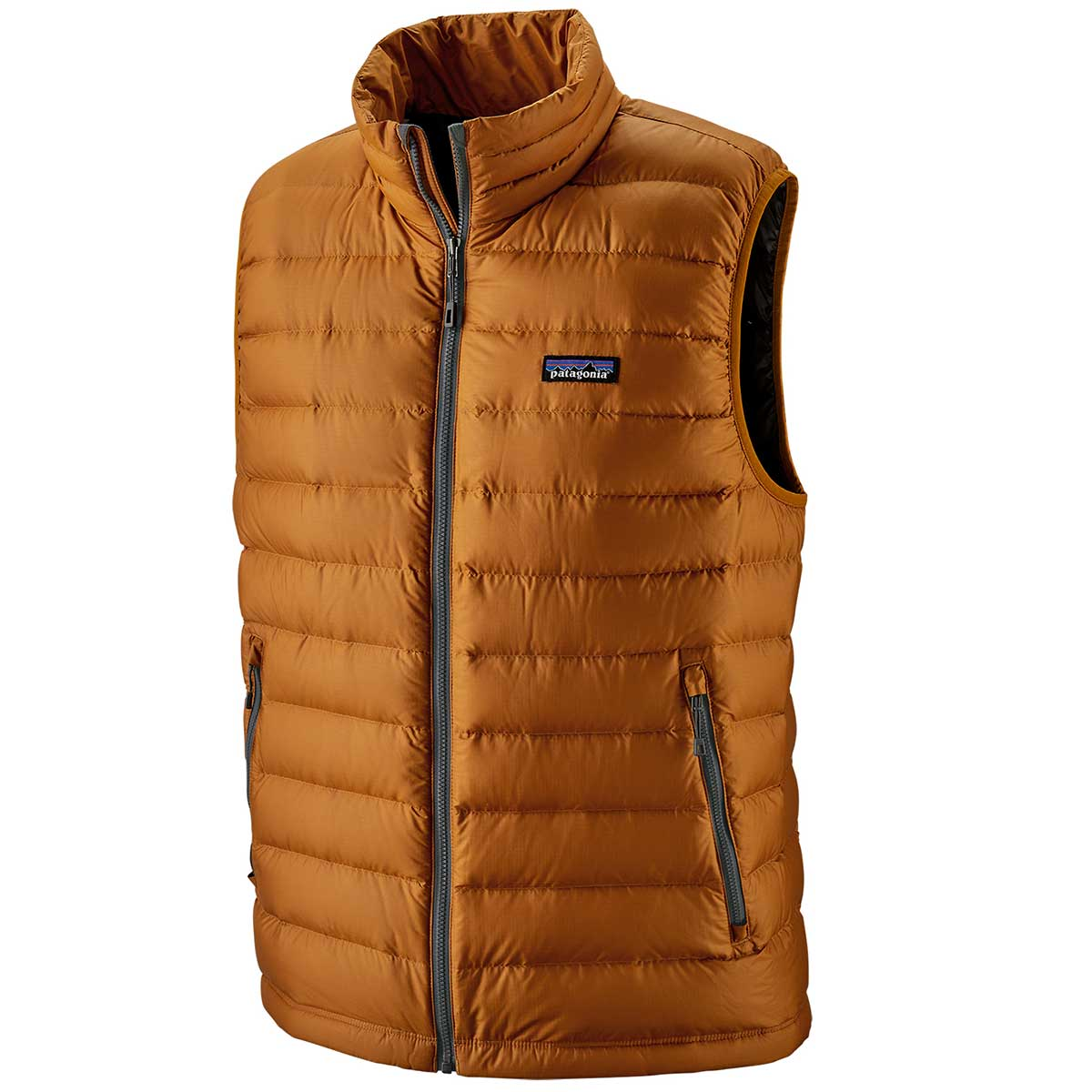 Patagonia men's Down Sweater Vest in Hammonds Gold front view