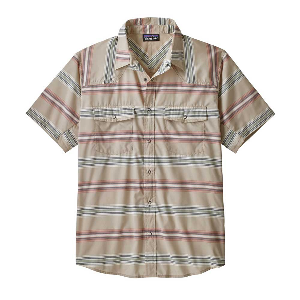 Men's Patagonia Bandito button-up shirt in Tarkine Stripe Stone Blue
