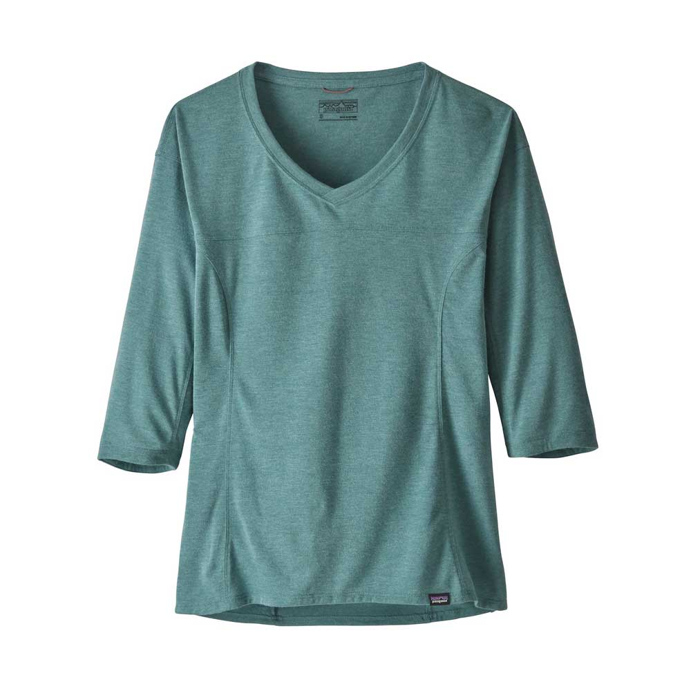 Women's Patagonia Nine Trails bike jersey in Tasmanian teal