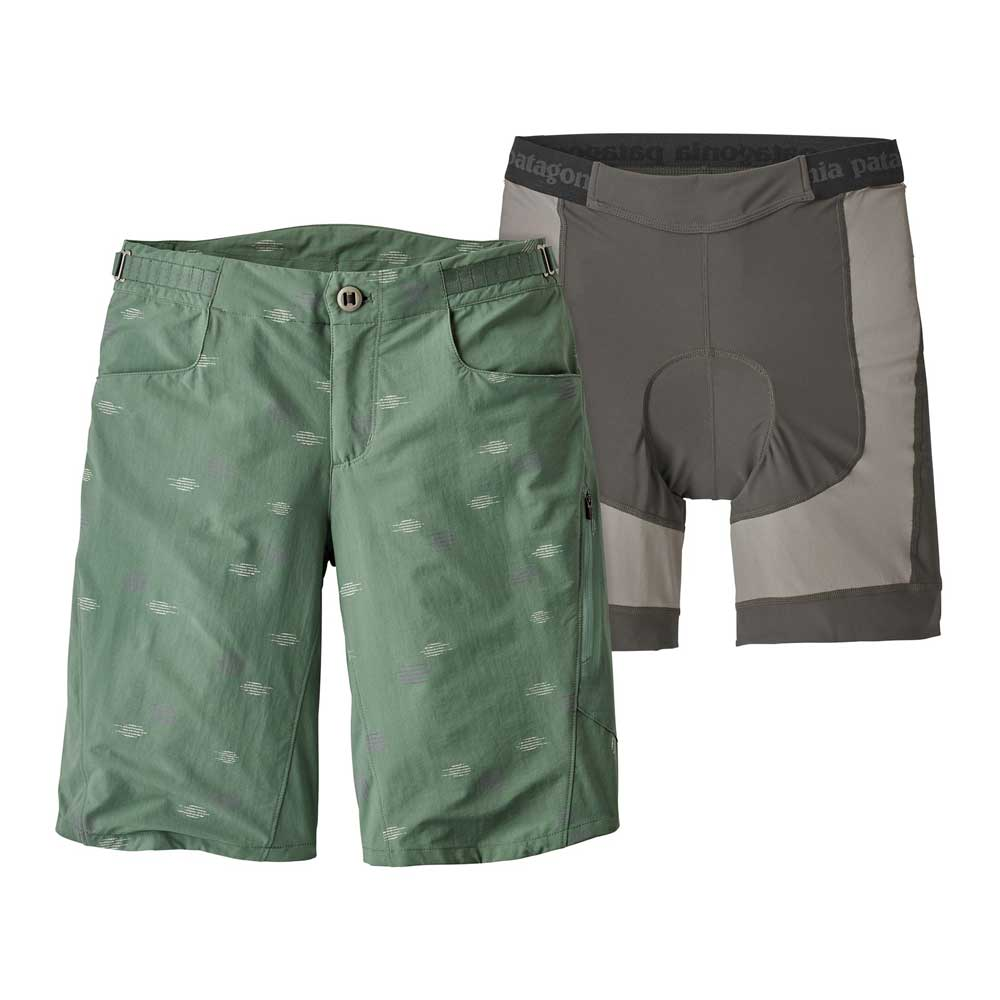 Women's Patagonia Dirt Craft mountain bike shorts in Heritage Pesto, a sage green with subtle line pattern