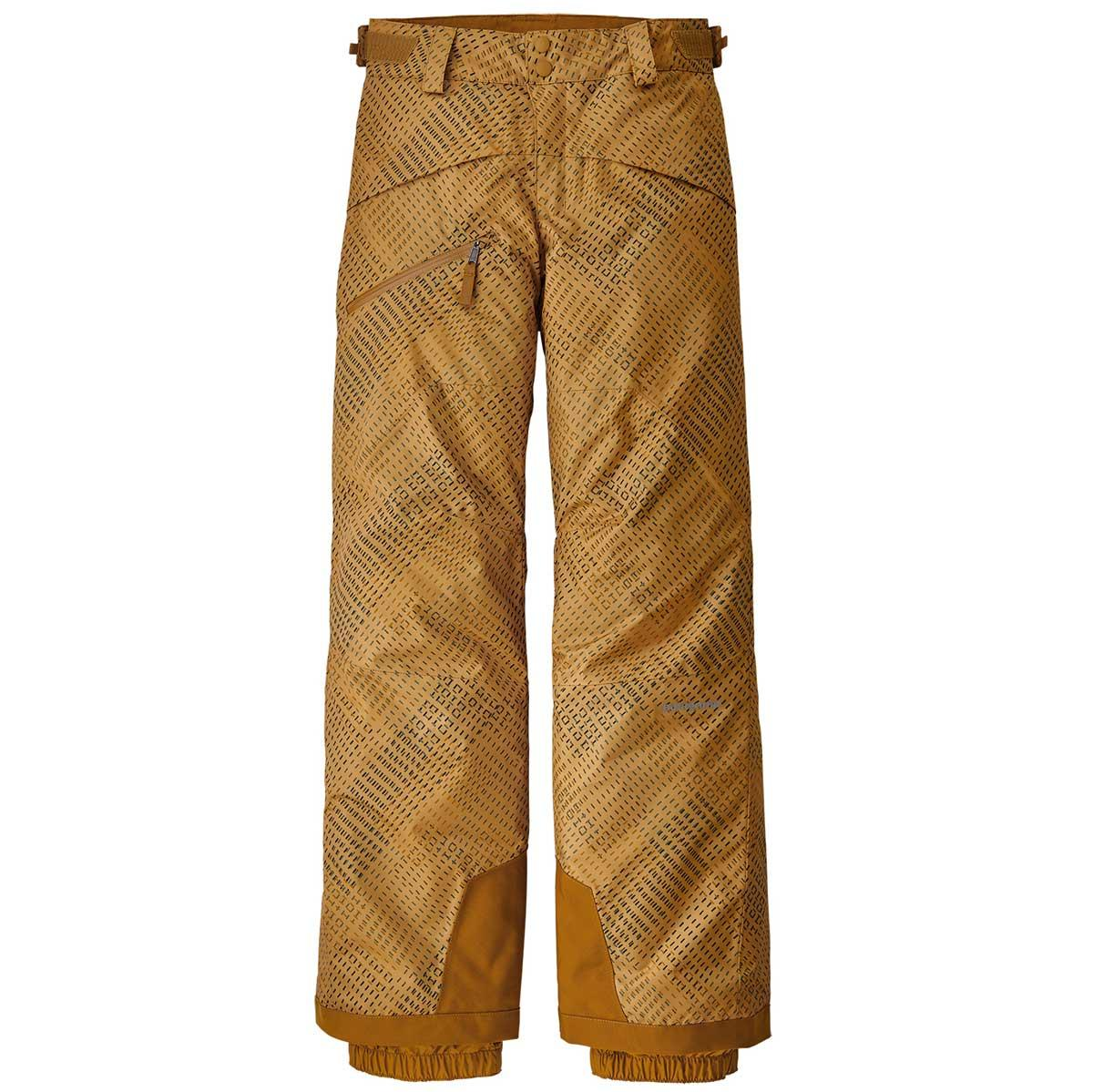 Patagonia boy's Snowshot Pants in Stitch Grid and Glyph Gold front view