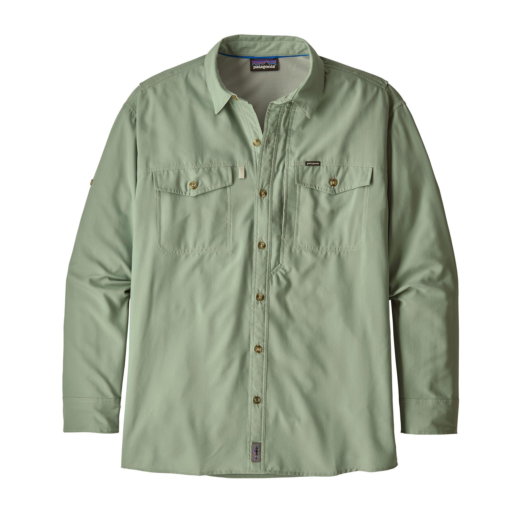 Men's Patagonia Sol Patrol II button down shirt in Celadon, or light grey-green