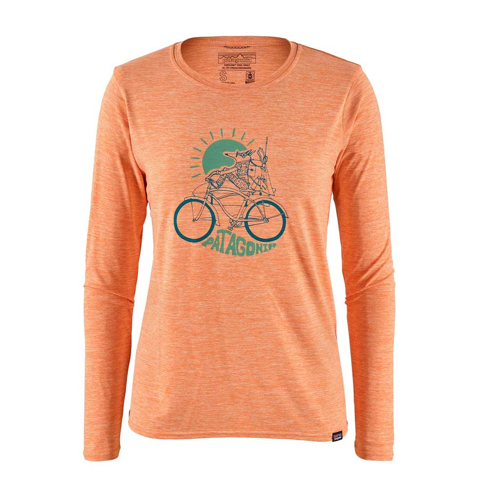 Patagonia women's Capilene Cool Daily long-sleeved shirt in heathered Peach Sherbert, with a graphic of a fox riding a bicycle.