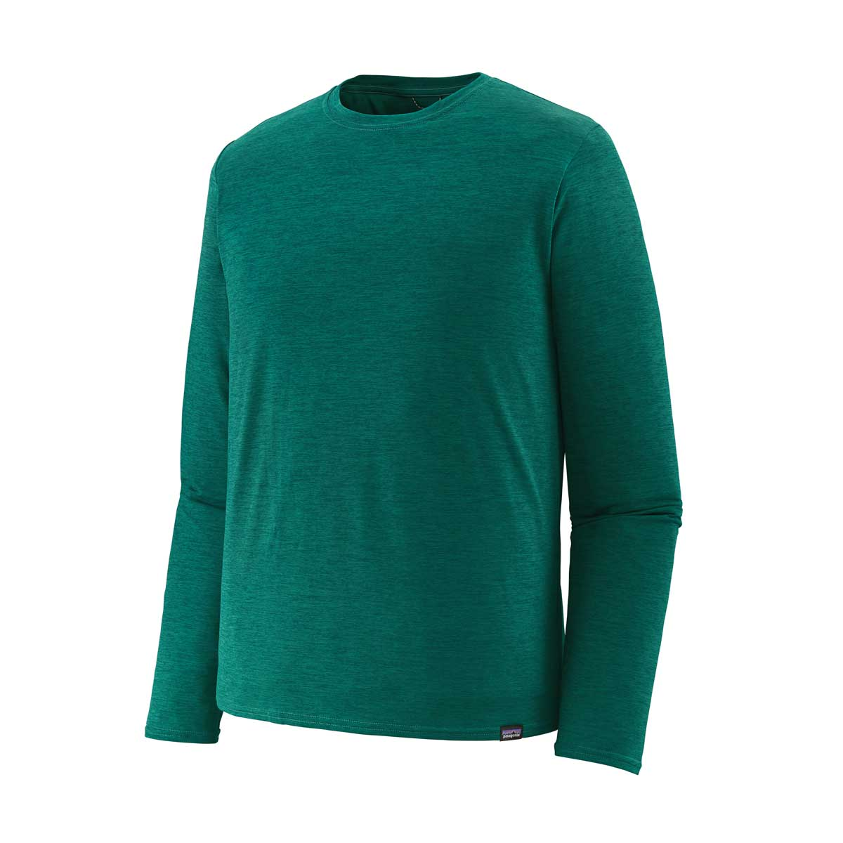 Patagonia men's Capilene Cool Daily Long Sleeve shirt in Borealis Green and Light Borealis Green X-Dye