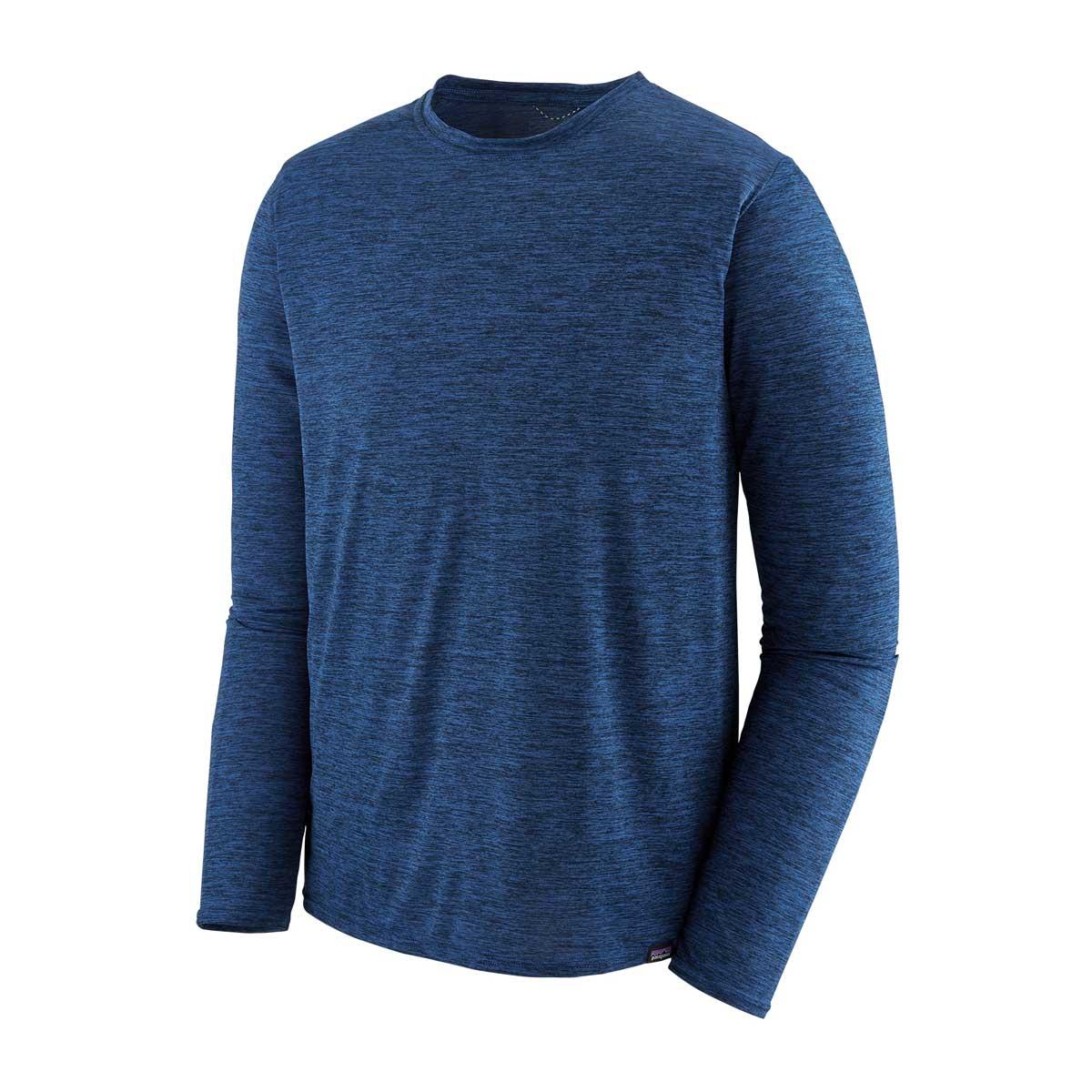 Patagonia men's Capilene Cool Daily long-sleeve shirt in heathered Viking Blue and Navy Blue
