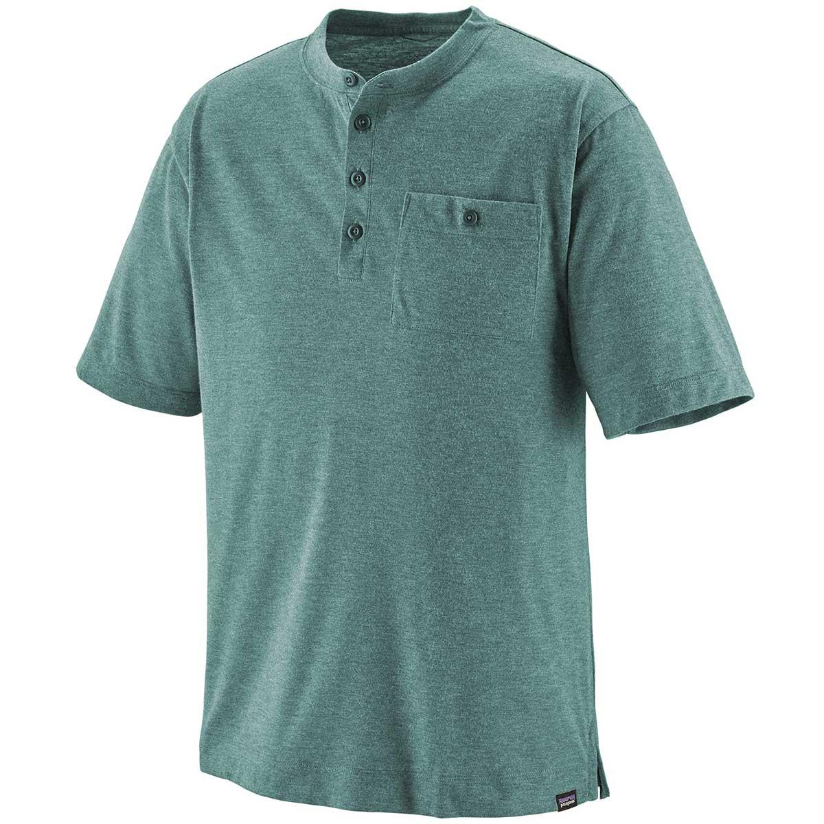 Patagonia men's Capilene Cool Daily Trail short-sleeve mountain bike henley, in Tasmanian Teal