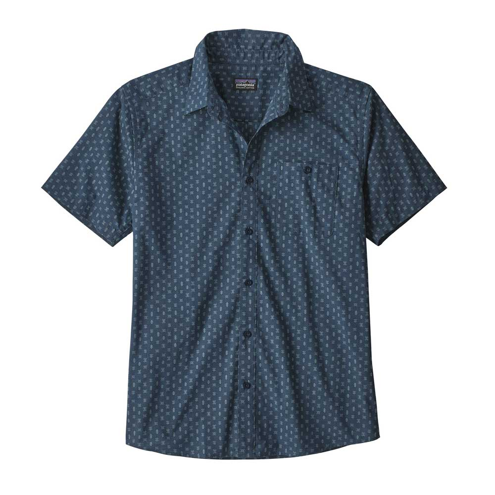 Patagonia men's Go To button-up shirt in Space Micro Stone Blue, with light blue geometric shape pattern