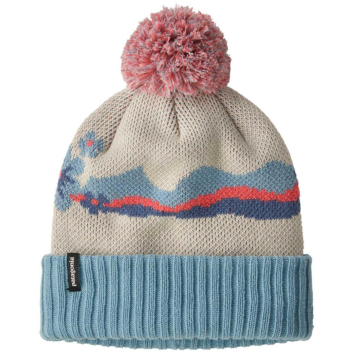 Patagonia kid's Powder Town Beanie in Arctic Floral and Oyster White