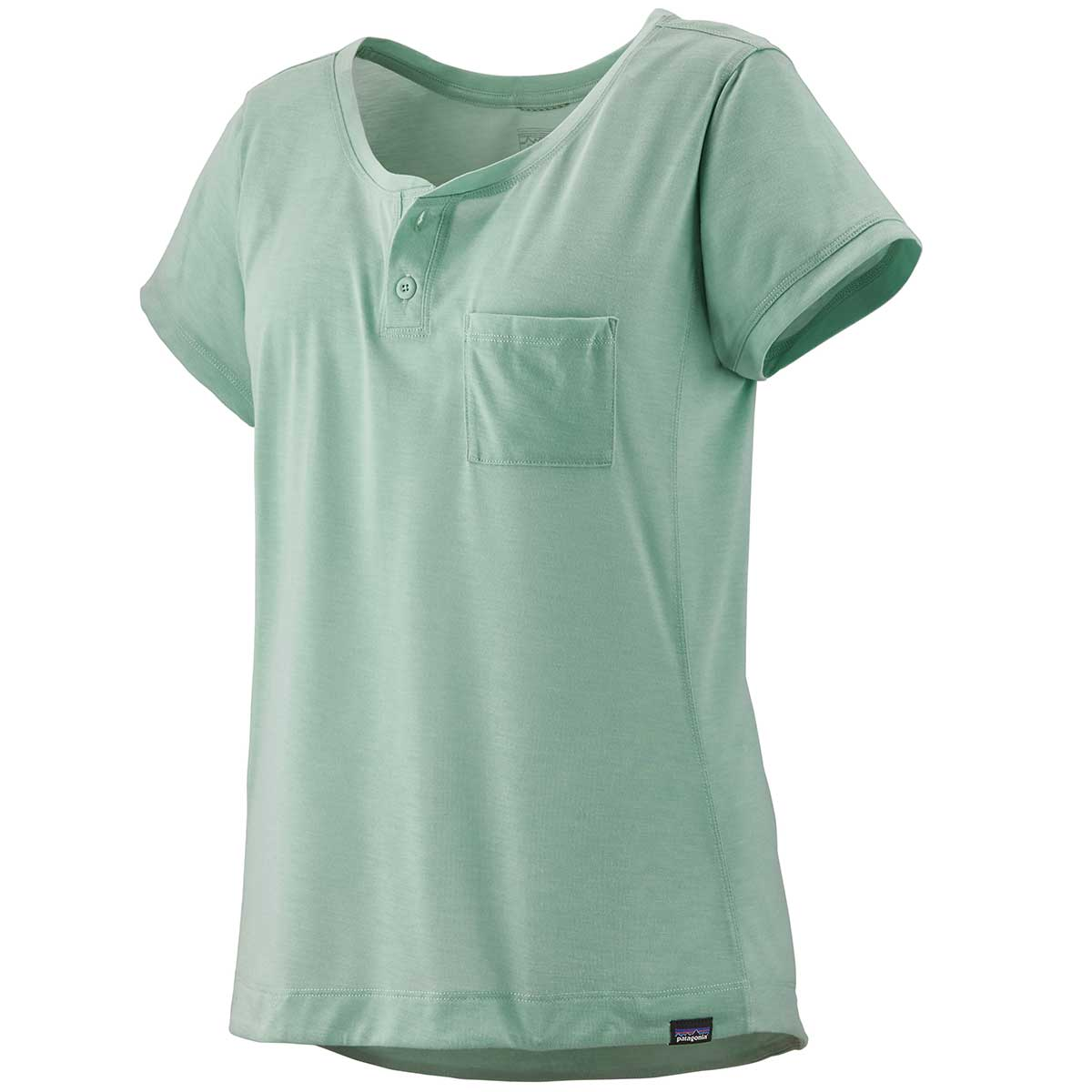 Patagonia women's Capilene Cool Trail Bike Henley in Gypsum Green front view